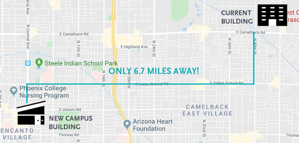 Map shows distance between current campus location and the new location